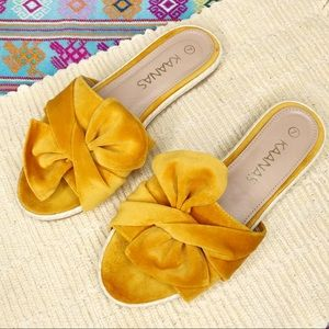 Kaanas | Yellow Velvet Bow Slides Sz. 7